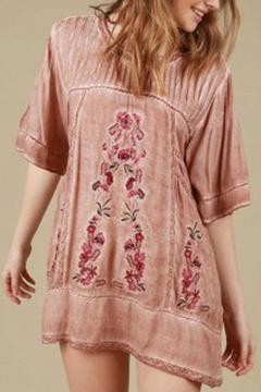 Shoptiques Product: Pink Embroidered Top