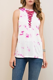 The Vintage Valet Pink Lace Up Tank - Product Mini Image