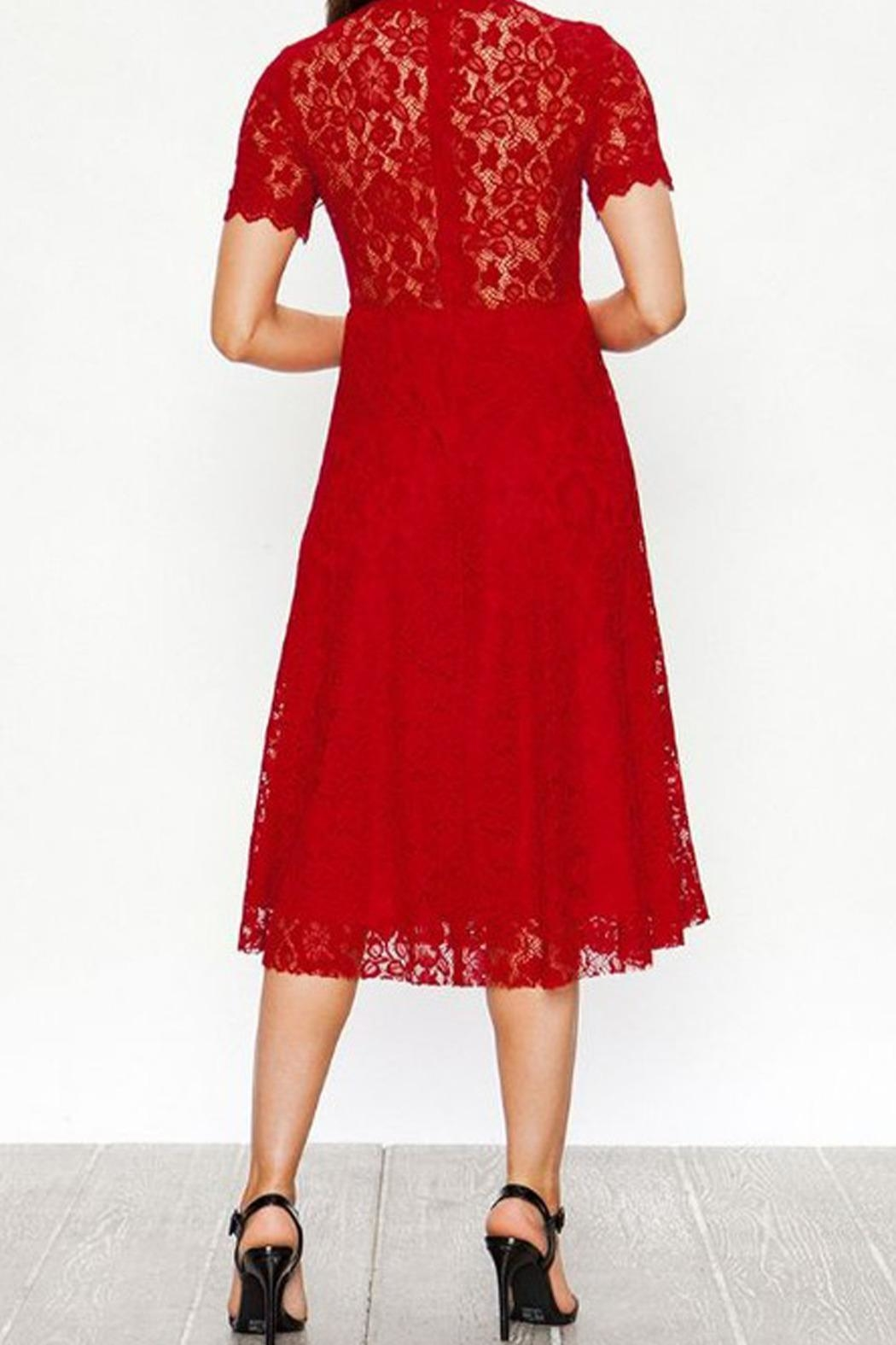 The Vintage Valet Red Lace Dress - Front Full Image