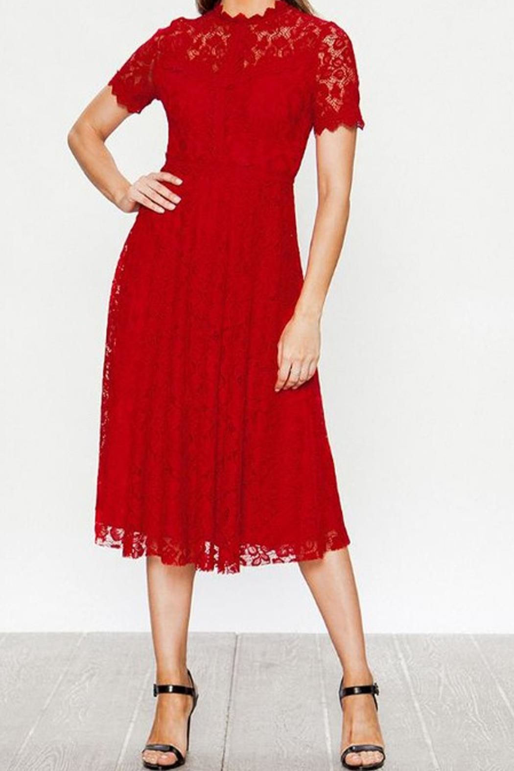 The Vintage Valet Red Lace Dress - Main Image