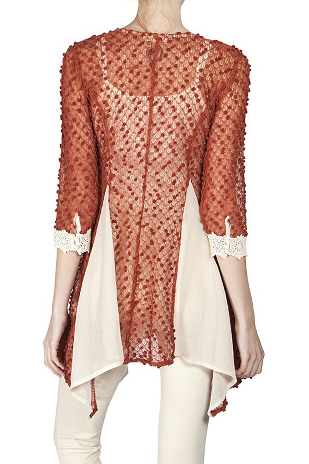 The Vintage Valet Rust Crochet Top - Front Full Image