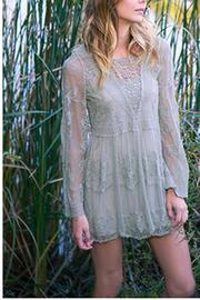 The Vintage Valet Sage Lace Top - Front cropped