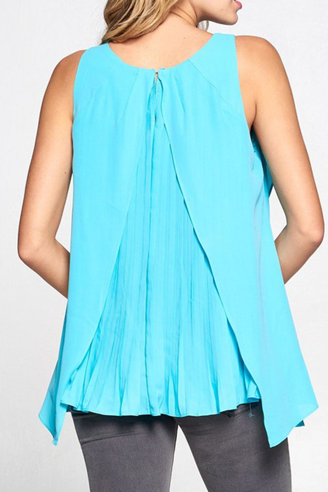 The Vintage Valet Teal Pleated Tank - Front Full Image