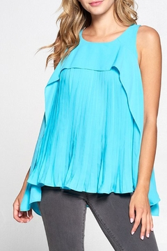 Shoptiques Product: Teal Pleated Tank