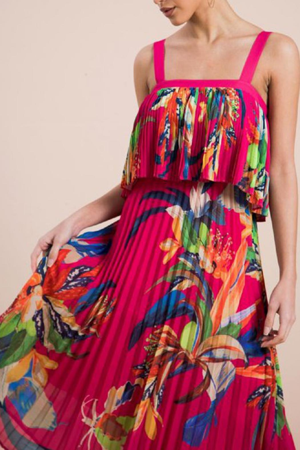 The Vintage Valet Tropical Pleated Dress - Main Image