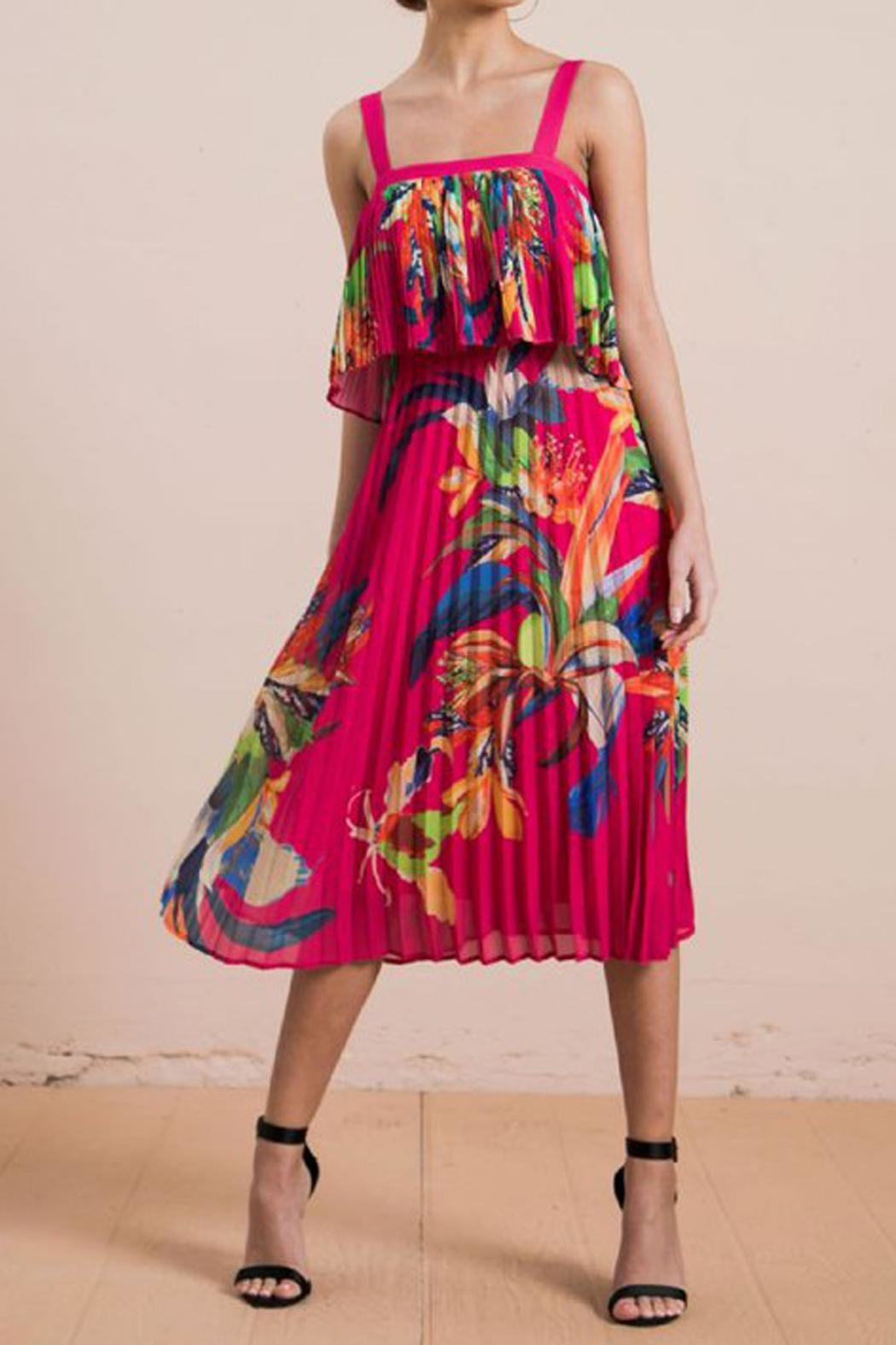 The Vintage Valet Tropical Pleated Dress - Front Full Image