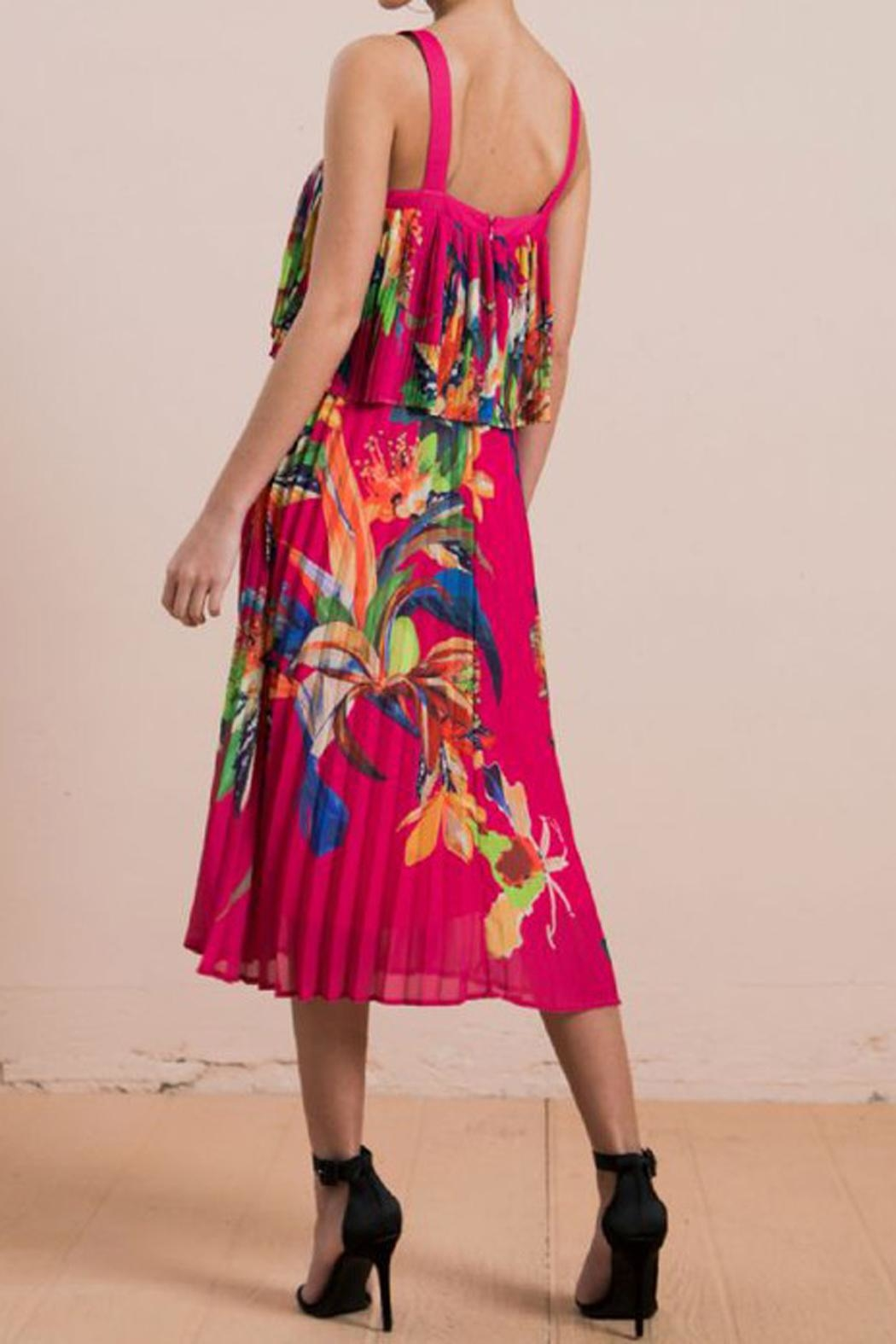The Vintage Valet Tropical Pleated Dress - Side Cropped Image