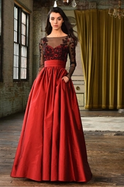 Theia Long-Sleeve Evening Gown - Product Mini Image