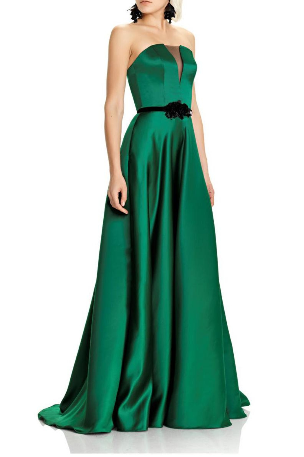 Theia Green Strapless Evening Gown - Main Image
