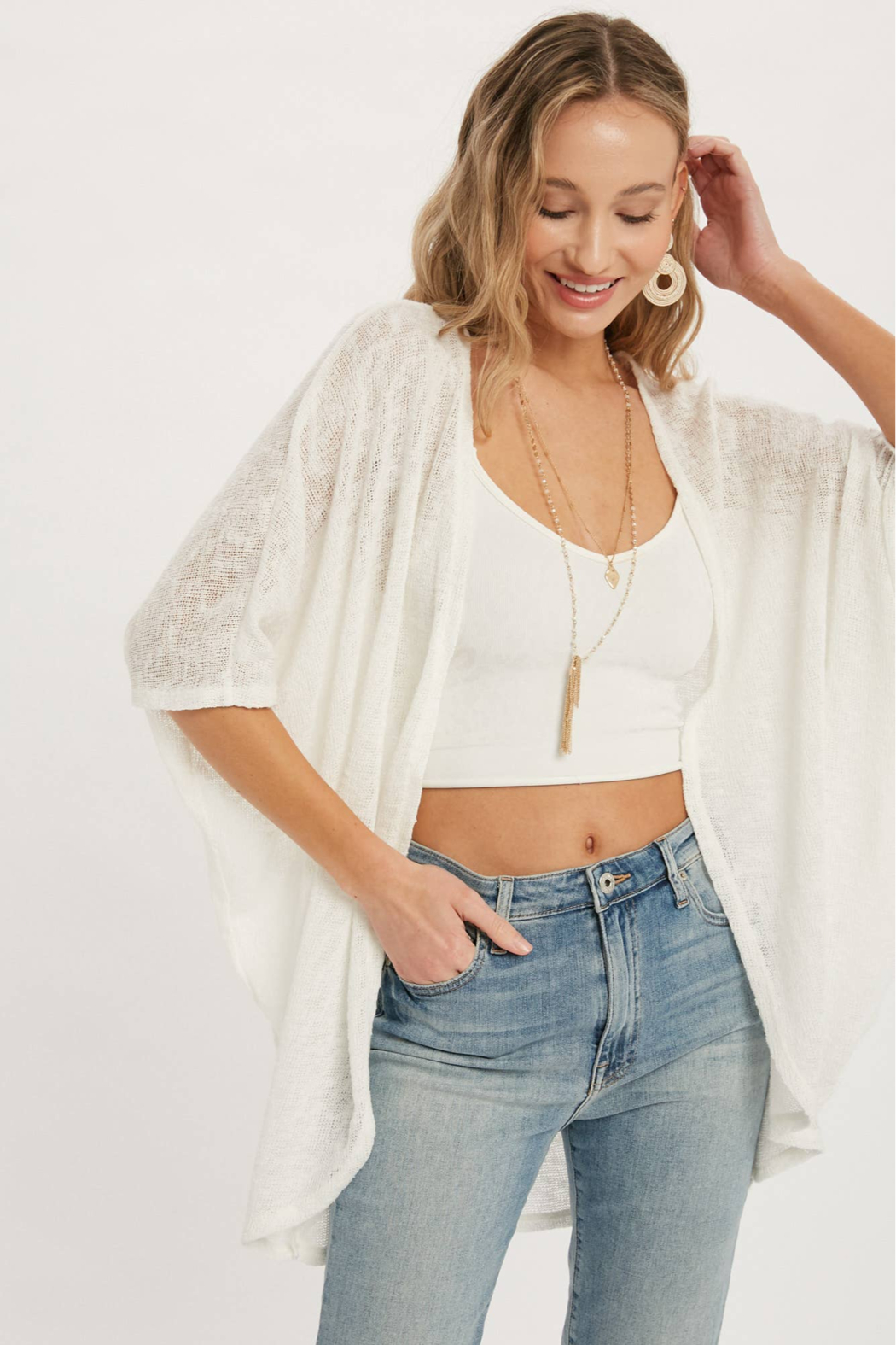 Bluivy Thelma Lightweight Dolman Cardigan - Side Cropped Image