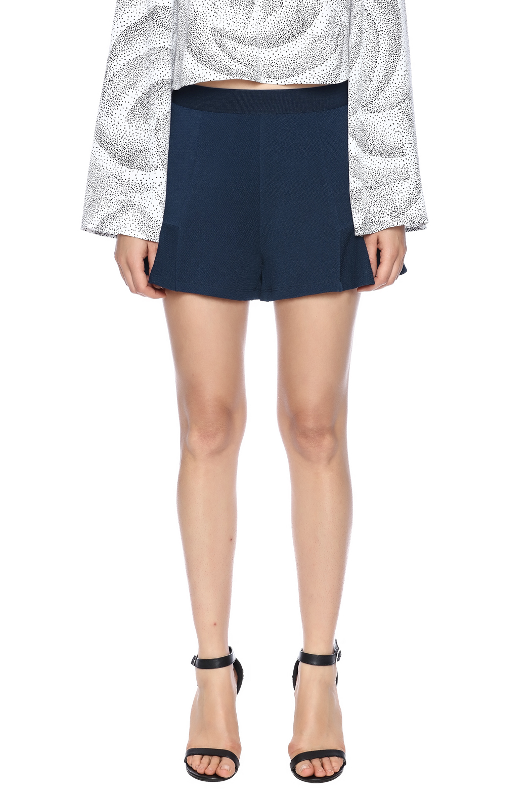 Theo Paris Navy Flare Shorts - Side Cropped Image
