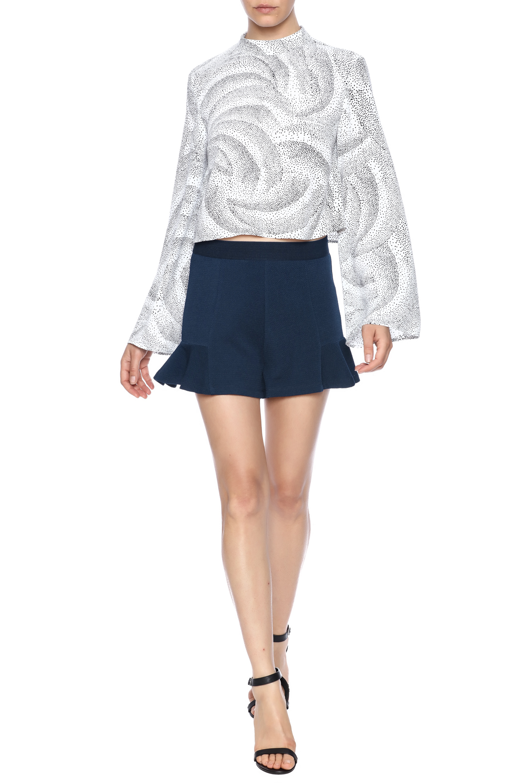 Theo Paris Navy Flare Shorts - Front Full Image