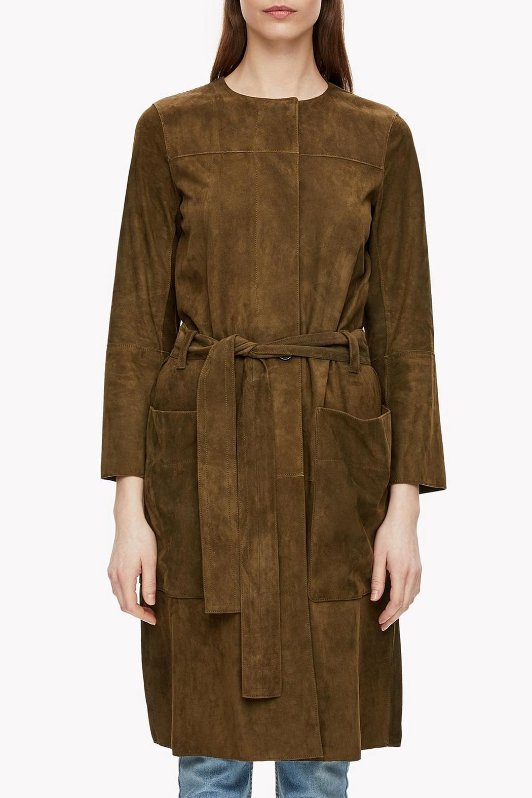 Theory Suede Belted Coat - Side Cropped Image