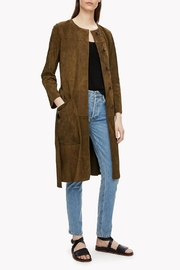 Theory Suede Belted Coat - Front full body