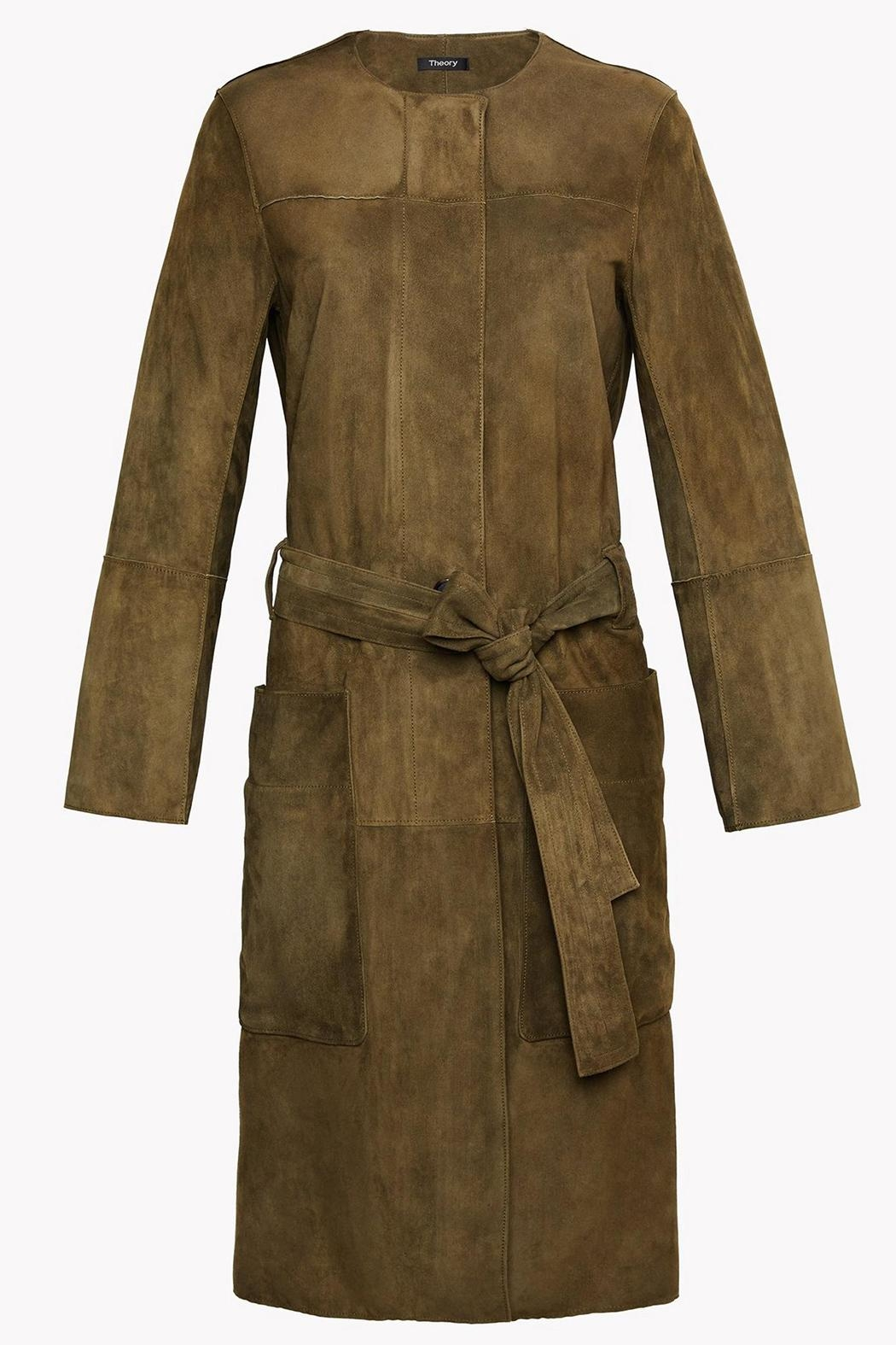 Theory Suede Belted Coat - Front Cropped Image