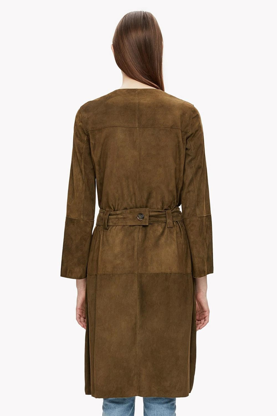 Theory Suede Belted Coat - Back Cropped Image