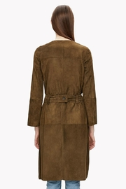 Theory Suede Belted Coat - Back cropped
