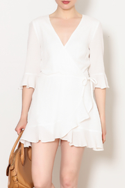 Honey Punch Theresa Wrap Romper With Ruffle Sleeve - Product Mini Image
