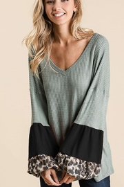 Bibi Thermal Balloon Sleeve V Neck Top - Front cropped