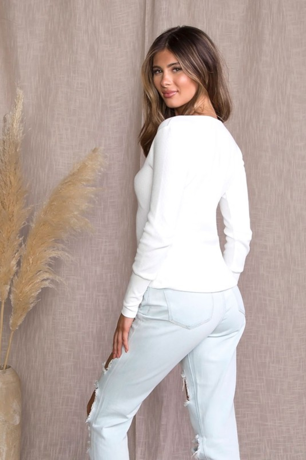 Malibu Bum Thermal Henely Top - Side Cropped Image