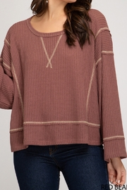 She and Sky Thermal Knit Stitch Top - Product Mini Image