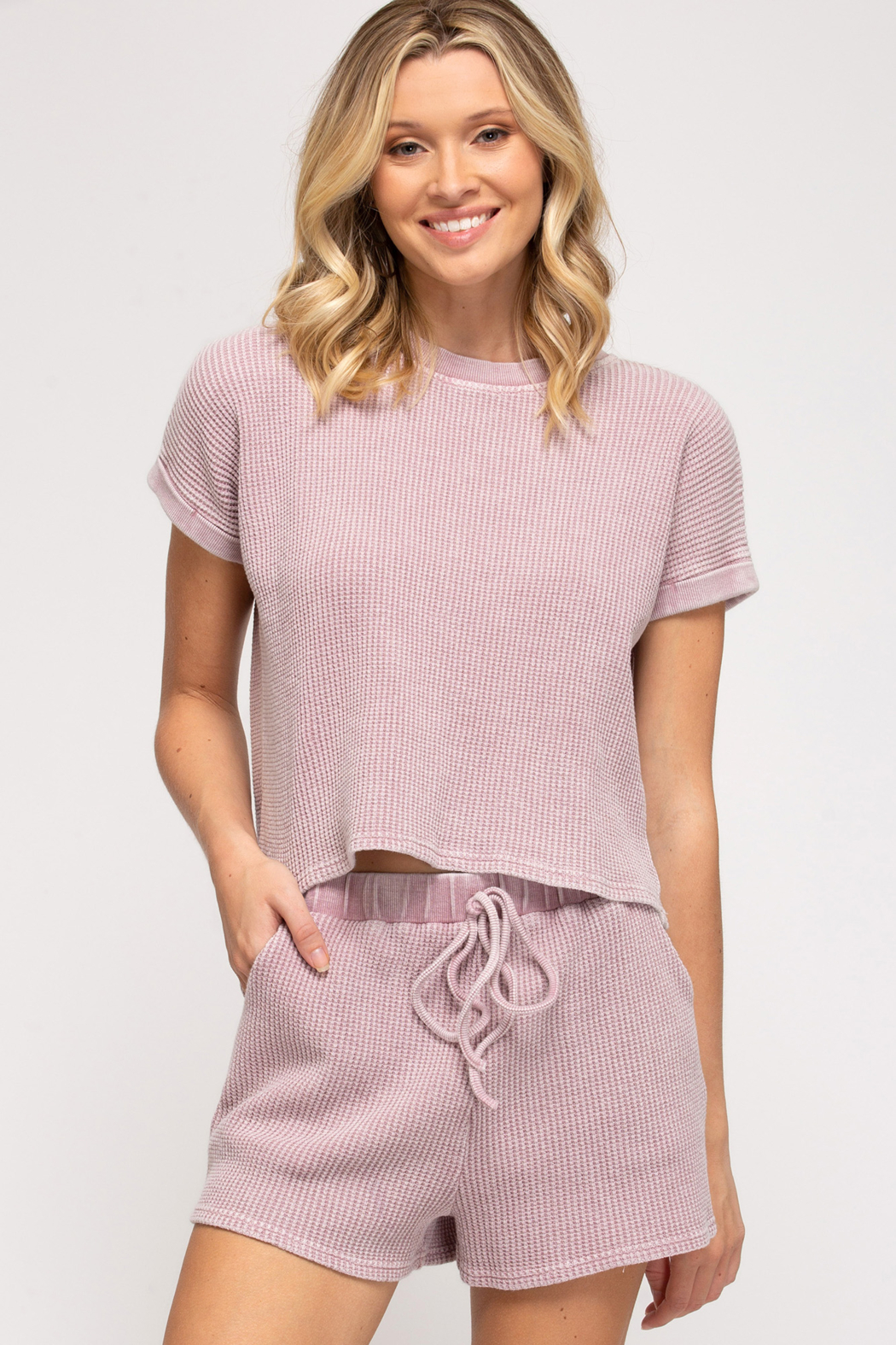 She + Sky Thermal Knit Top - Front Full Image
