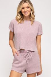 She + Sky Thermal Knit Top - Front full body