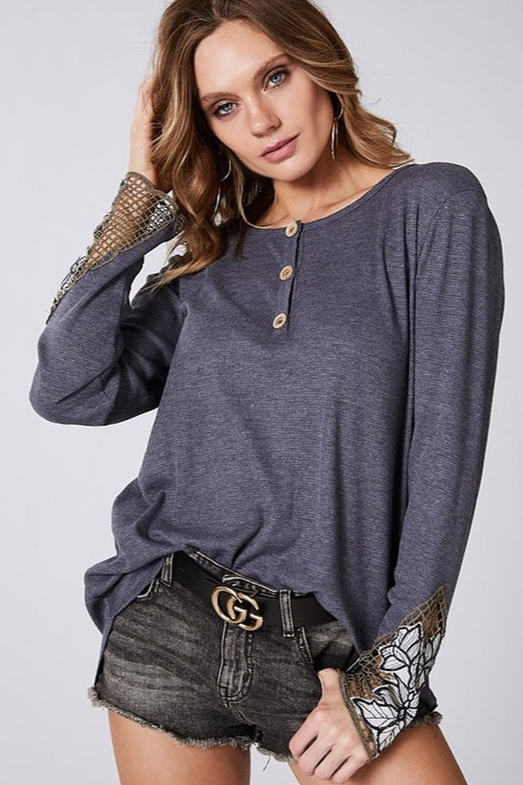 Bibi THERMAL KNIT TOP WITH BUTTONED FRONT PLACKET - Main Image
