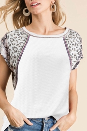 Bibi Thermal Knit Top with Print Blocked Sleeves - Product Mini Image