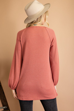 143 Story Thermal Knit Top with Ruched Chest - Alternate List Image