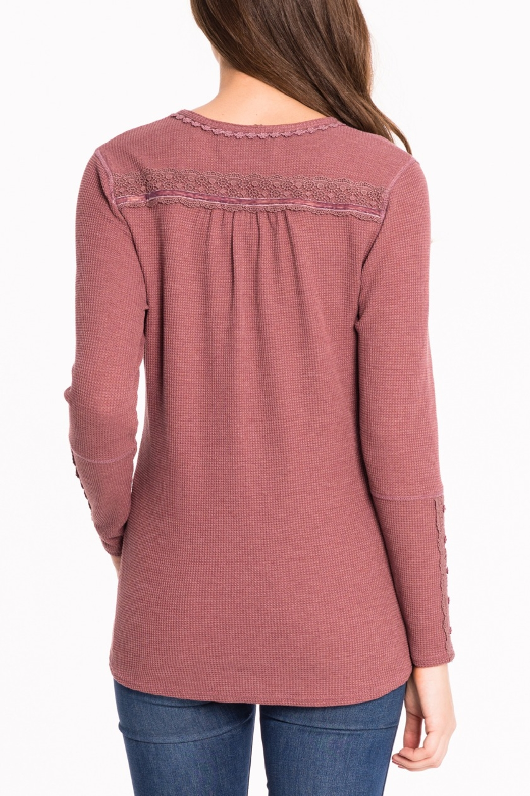 Biz Thermal Lace Henley - Front Full Image