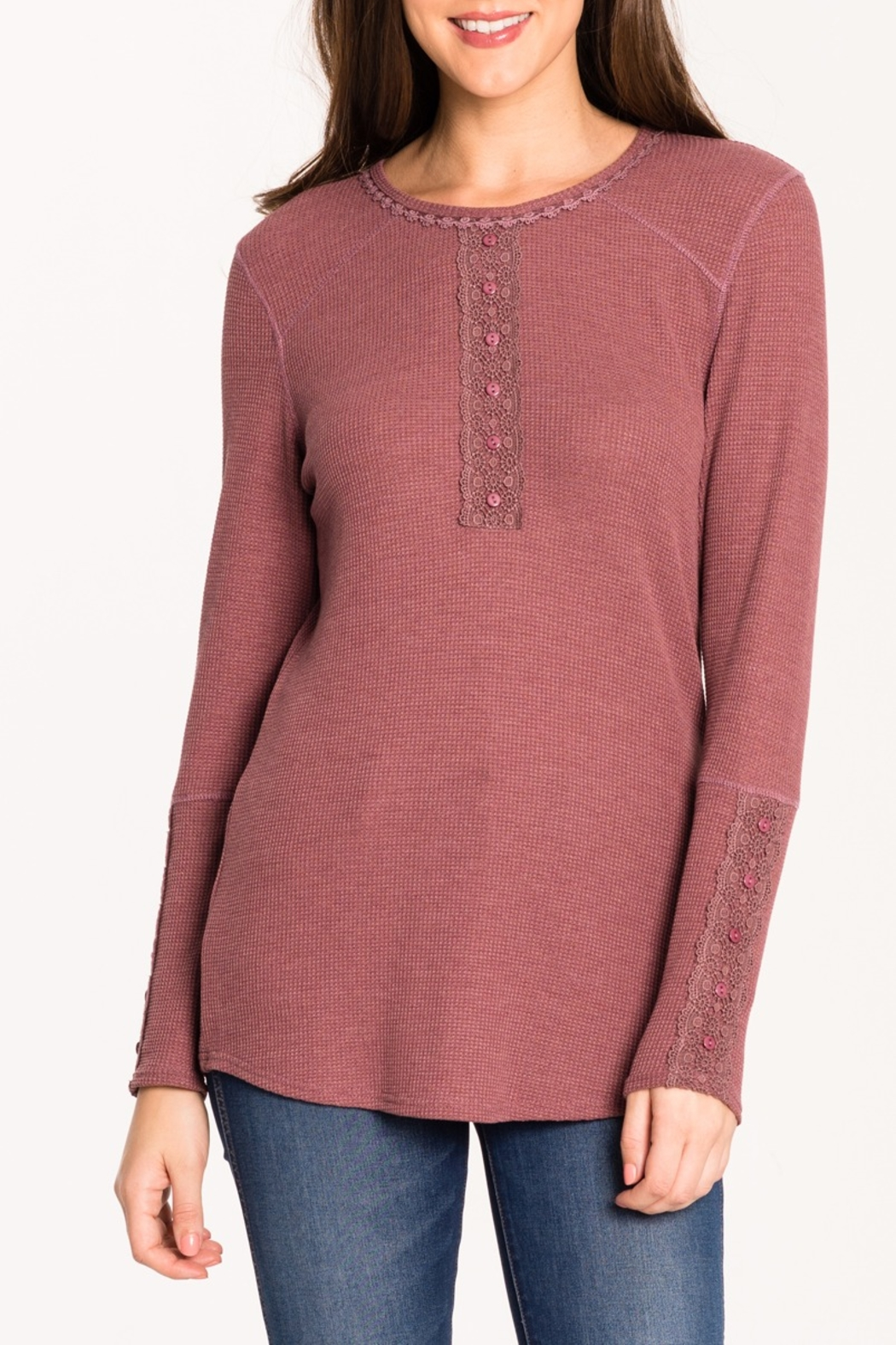 Biz Thermal Lace Henley - Front Cropped Image