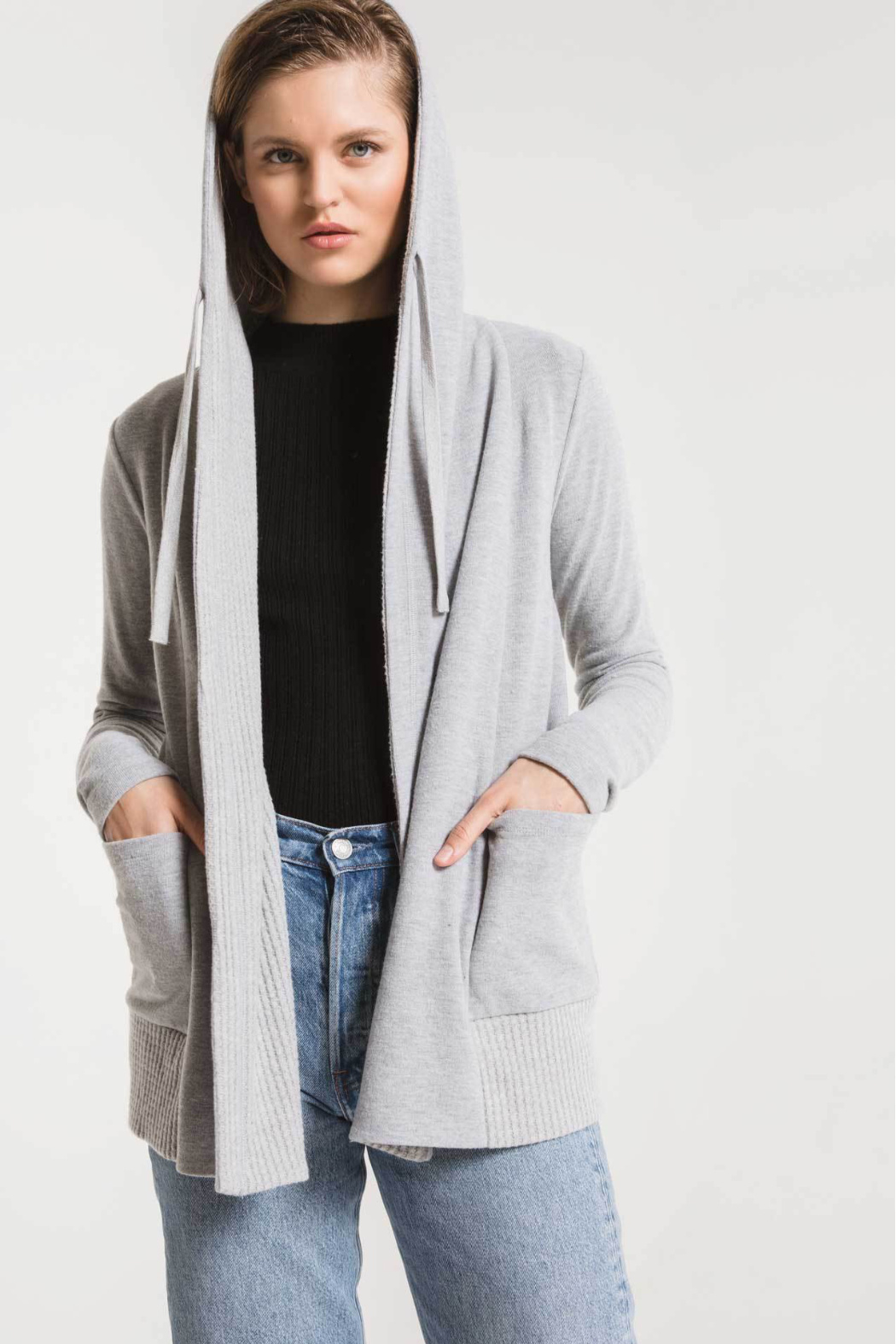 z supply Thermal Lined Soft Spun Cardigan - Back Cropped Image