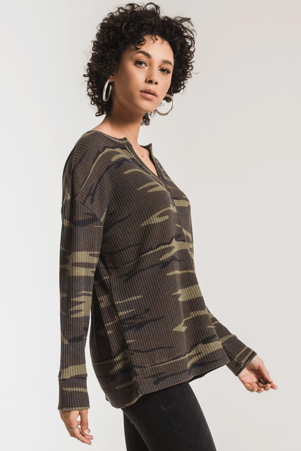 z supply Thermal Split Neck Top - Side Cropped Image