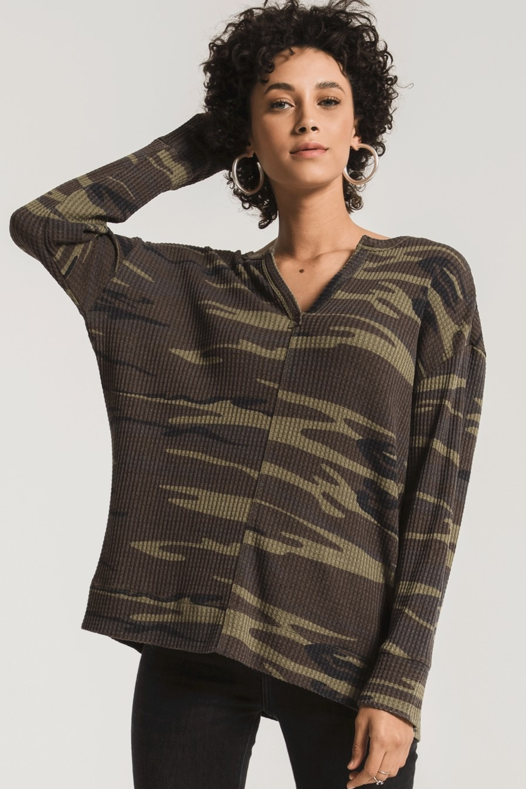 z supply Thermal Split Neck Top - Front Cropped Image