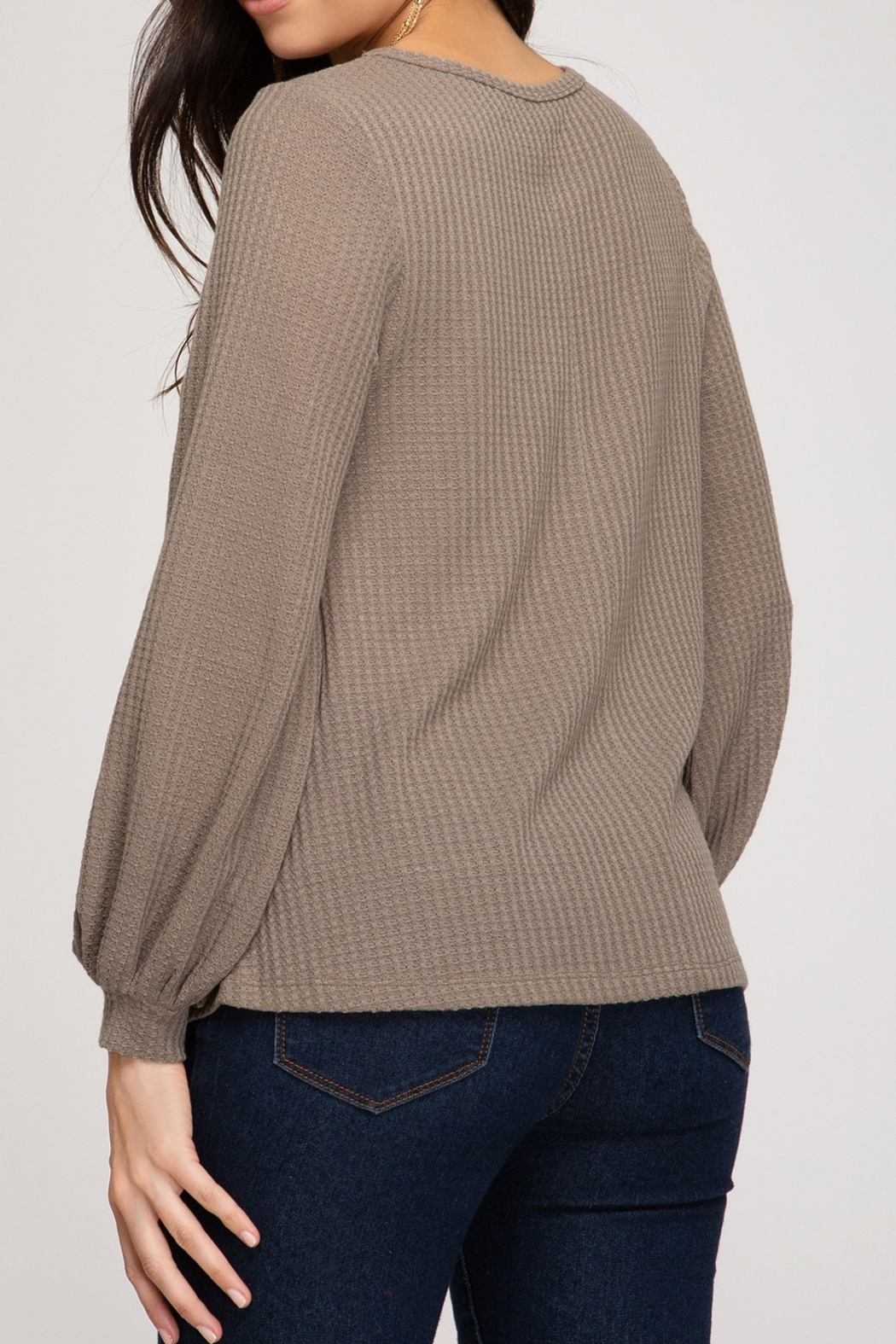 She and Sky Thermal Top with Bubble Sleeve - Front Full Image