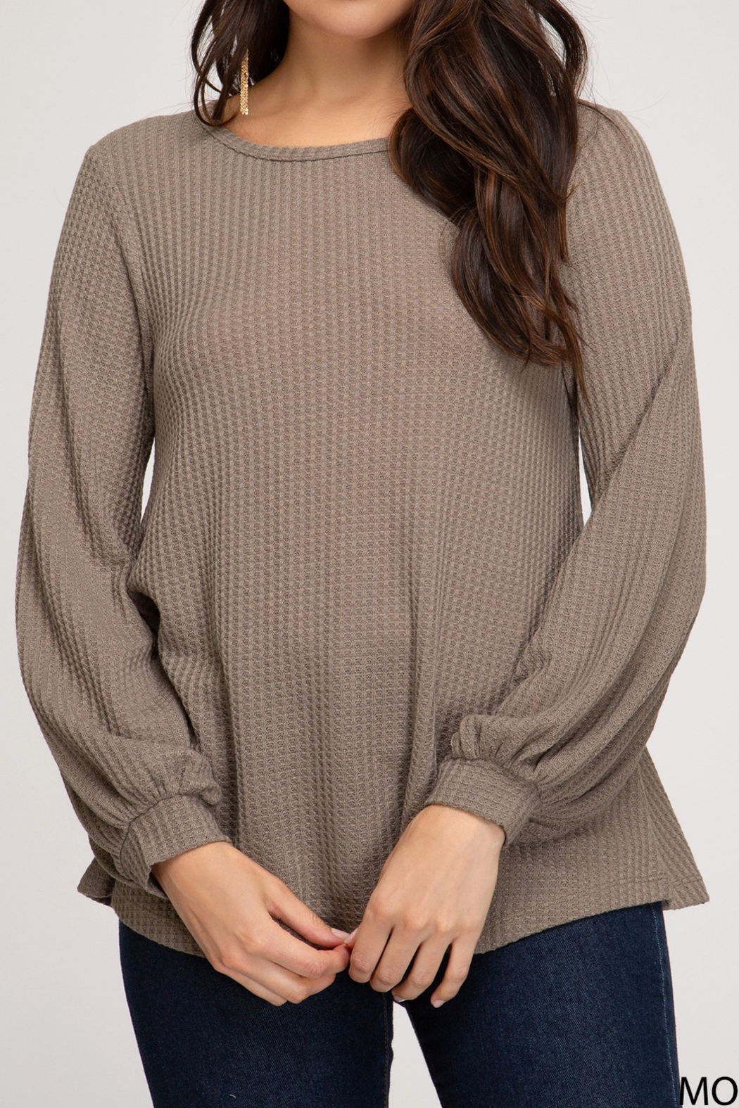 She and Sky Thermal Top with Bubble Sleeve - Main Image