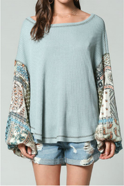 By Together Thermal Top with paisley print simmer gypsy puffy arms - Product Mini Image