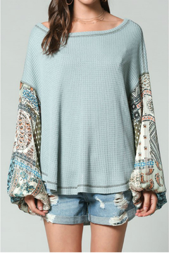 By Together Thermal Top with paisley print simmer gypsy puffy arms - Product List Image