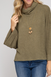 She and Sky Thermal Turtleneck Knit Top - Product Mini Image