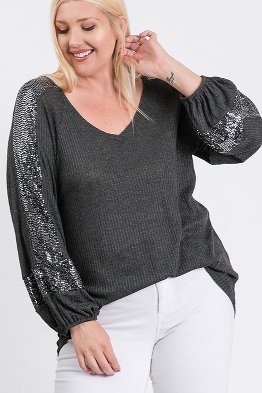 Hailey & Co Thermal V Neck Sequin Sleeve Top - Front Full Image