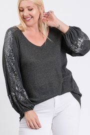 Hailey & Co Thermal V Neck Sequin Sleeve Top - Front full body