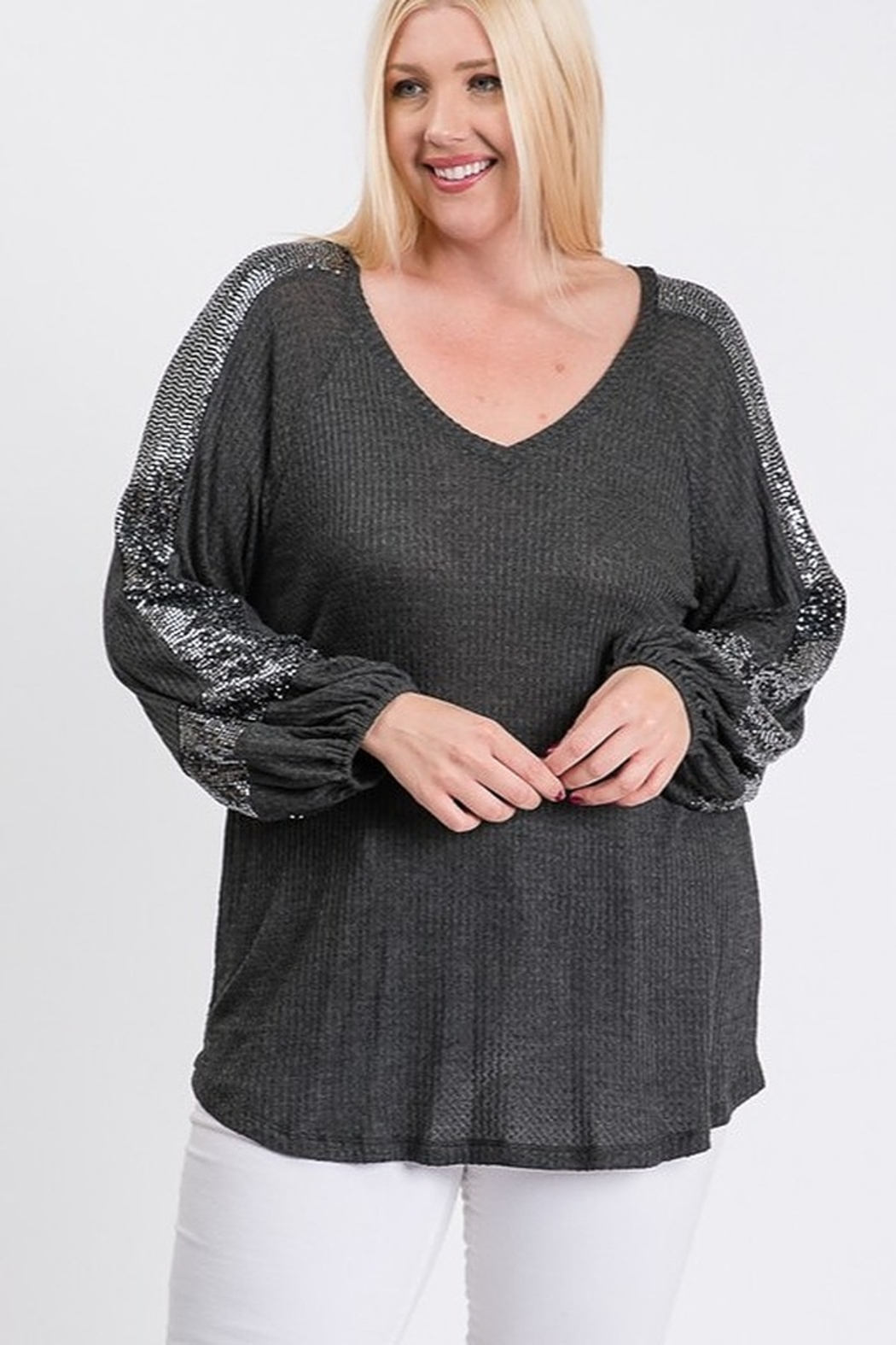 Hailey & Co Thermal V Neck Sequin Sleeve Top - Main Image