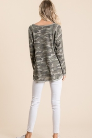 Bibi Thermal V Neck Waffle Top - Side cropped