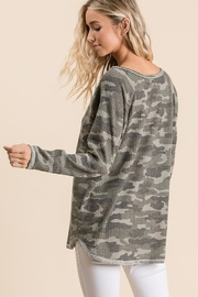 Bibi Thermal V Neck Waffle Top - Front full body