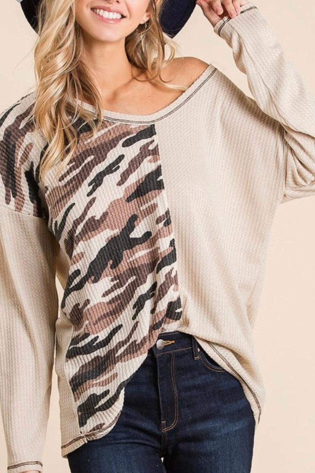 Bibi THERMAL WAFFLE DEEP V NECK TOP WITH CAMOUFLAGE - Front Full Image