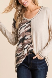 Bibi THERMAL WAFFLE DEEP V NECK TOP WITH CAMOUFLAGE - Product Mini Image