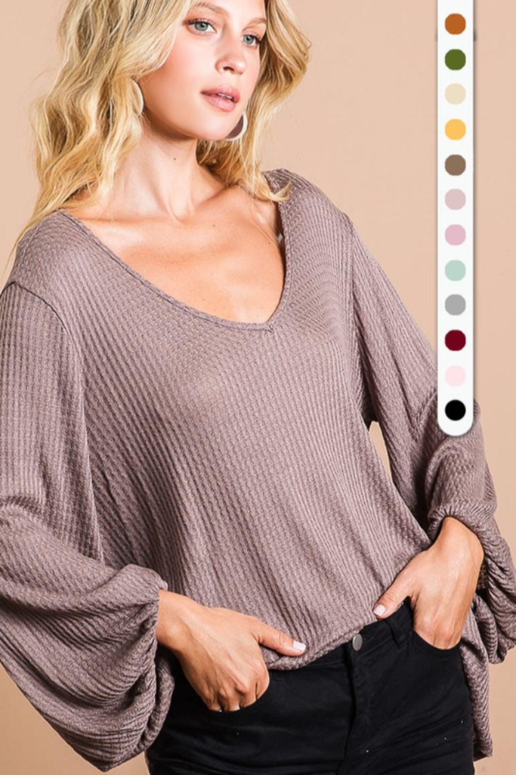 Bibi Thermal Waffle Knit Top with Bubble Sleeves - Front Cropped Image