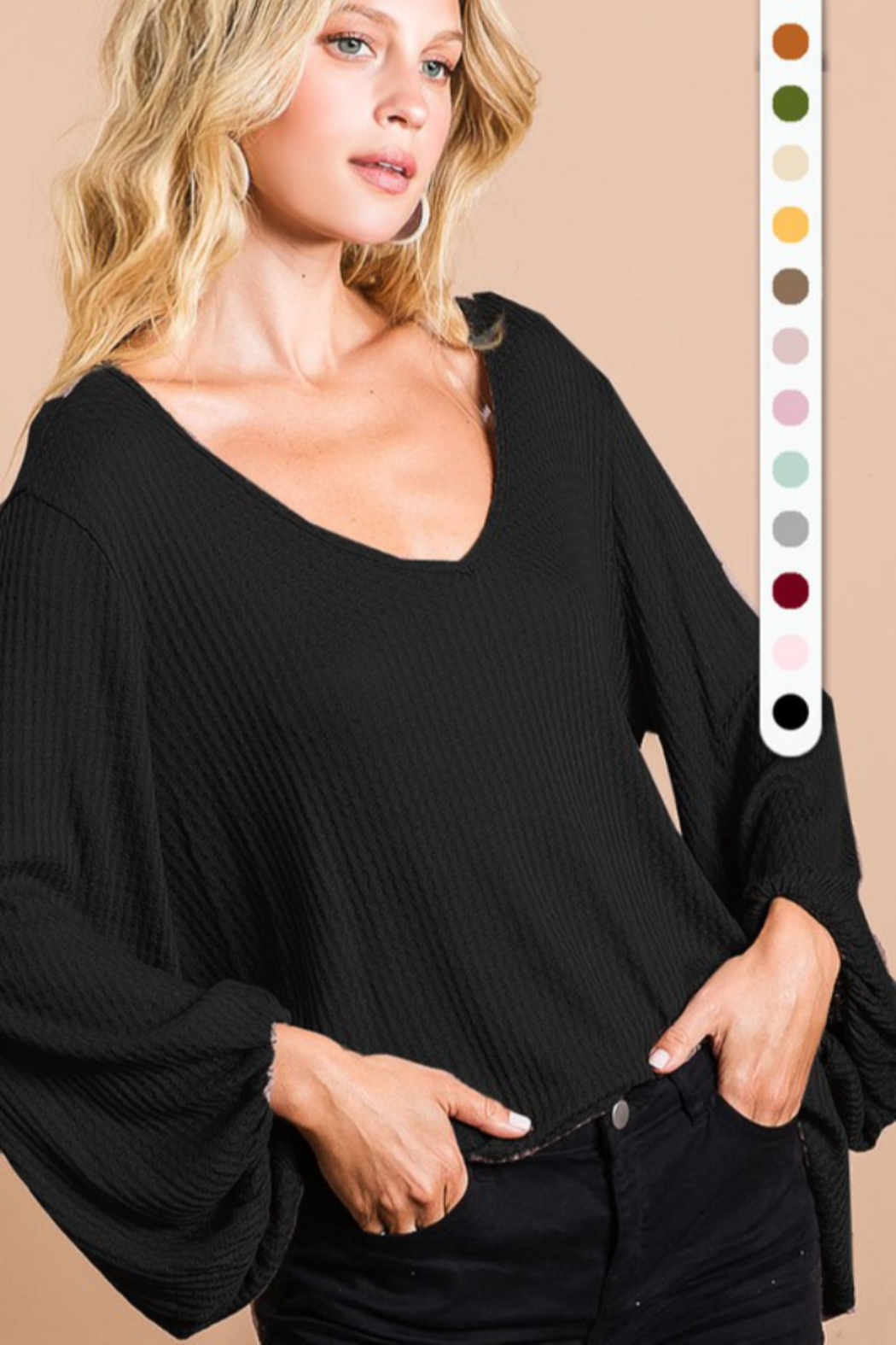 Bibi Thermal Waffle Knit Top with Bubble Sleeves - Main Image