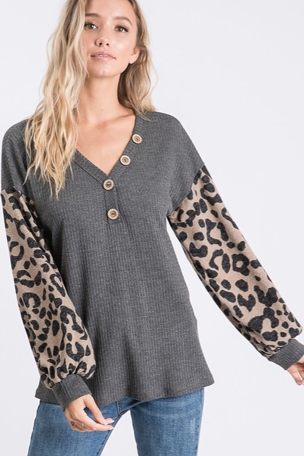 Bibi THERMAL WAFFLE TOP WITH LEOPARD PUFF SLEEVE - Main Image